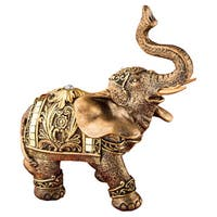 Elephant Gold-tone and Mirrored Clear Stones Polyresin Figurine