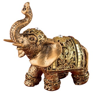 Gold-tone Elephant Polyresin Figurine with Clear Mirrored Stones