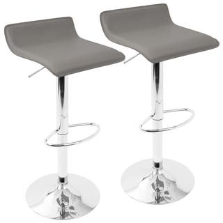 Adjustable Height Faux Leather And Chrome Swivel Stool