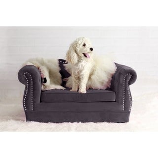 Yorkshire Grey Velvet/Wood Button-tufted Pet Bed