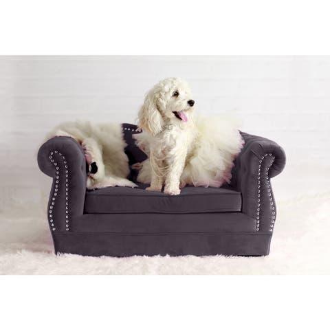 Yorkshire Tufted Grey Velvet Pet Bed