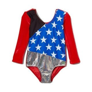 Girl Power Sport USA Olympian Stretch Velvet Leotard