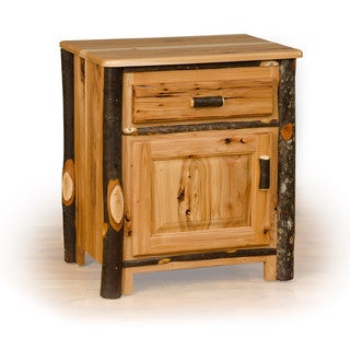 Rustic Hickory Nightstand With 1 Drawer and Door