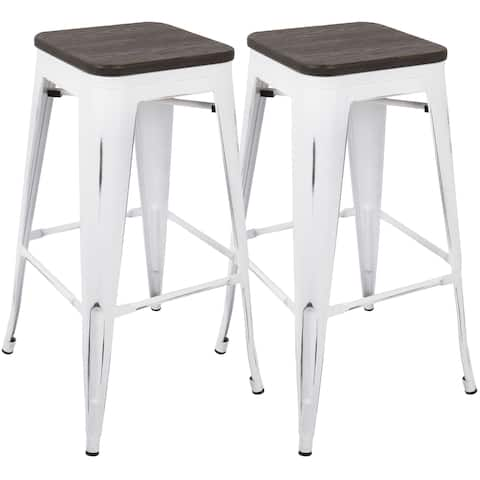 Carbon Loft Samira 30-inch Industrial Barstool with Vintage White Frame and Espresso Wood