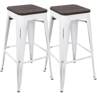 Oregon 30-inch Industrial Barstool with Vintage White Frame and Espresso Wood - Set of 2