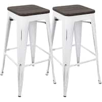 Carbon Loft Samira 30-inch Industrial Barstool with Vintage White Frame and Espresso Wood - Set of 2