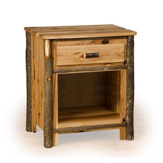 Rustic Hickory Nightstand with 1 Drawer and 1 Shelf