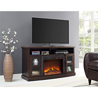 Ameriwood Home Barrow Creek Fireplace 60 Inch Console With Glass Doors
