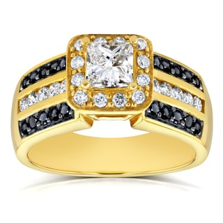 Annello by Kobelli 14k Yellow Gold 1ct TDW Black and White Princess Diamond Halo Wide Engagement Ring (HI, I1-I2)