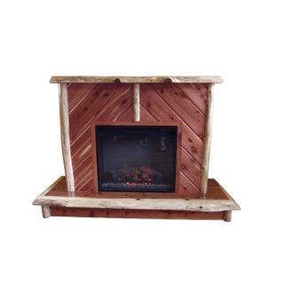 RUSTIC RED CEDAR LOG FIREPLACE - INCLUDES ELECTRIC INSERT!
