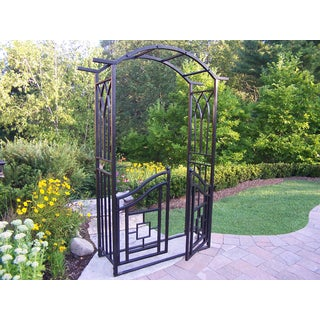 Oakland Living Corporation London Black Iron Arbor With Gate