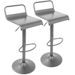 Link to Emery Industrial Adjustable Bar Stool in Black - Set of 2 - N/A Similar Items in Dining Room & Bar Furniture