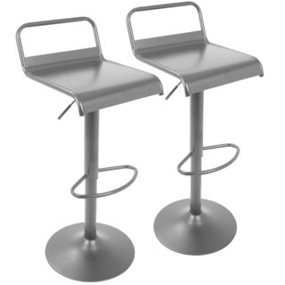 Emery Industrial Adjustable Barstool in Matte Black - Set of 2