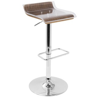 Contemporary 2-Tier Adjustable Barstool in Walnut Wood and Clear Acrylic