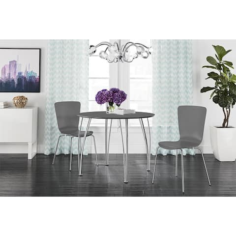 Novogratz Round Dining Table with Chrome Legs
