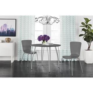 DHP Round Grey Dining Table with Chrome Legs