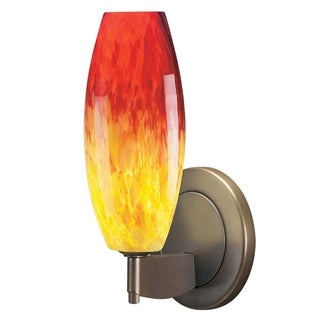 Bruck Lighting Ciro 1 1-light Bronze Wall Sconce with Yellow and Red Glass Shade