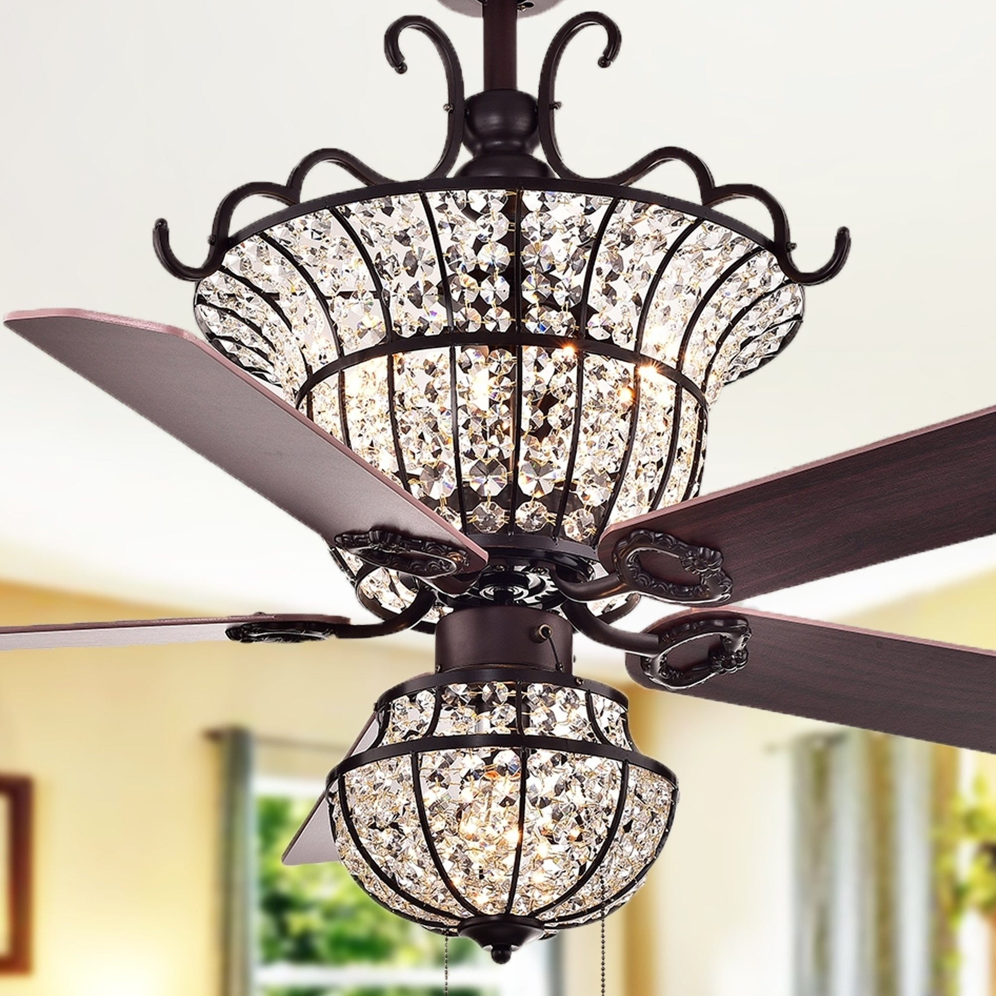 52inch Industrial Ceiling Fan Light Indoor Fan Chandelier With Pull Chain Remote Control 3 Speed Ceiling Fan With 5 Reversible Blade Black Iron Cage Ceiling Fan Lights