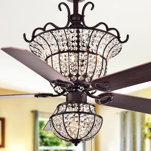 Buy ceiling fans online at overstock our best lighting deals charla 4 light crystal 5 blade 52 inch chandelier ceiling fan optional publicscrutiny