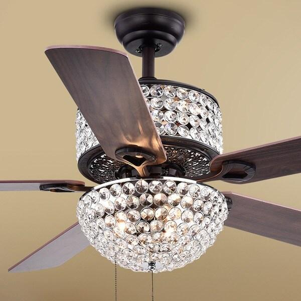 Laure Crystal 6-light Crystal 5-blade 52-inch Ceiling Fan