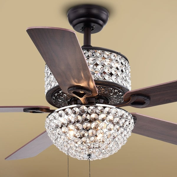 Laure crystal 6 light crystal 5 blade 52 inch ceiling fan optional laure crystal 6 light crystal 5 blade 52 inch ceiling fan optional aloadofball Gallery