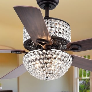 ceiling fans with lights for bedrooms. laure crystal 6-light 5-blade 52-inch ceiling fan fans with lights for bedrooms