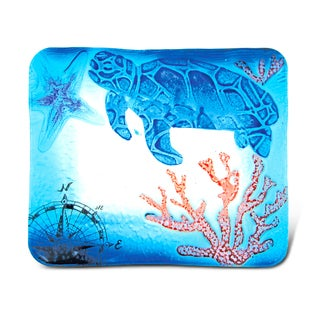 Puzzled Blue Glass 7-inch Rectangular Sea Turtle Plate