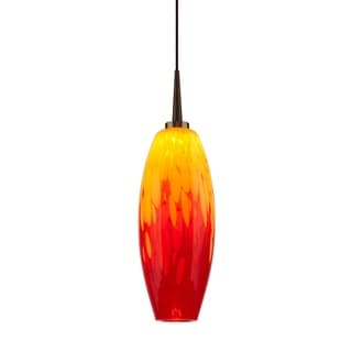 Bruck Lighting Ciro 1 LED 4-inch Canopy Bronze Pendant with Yellow and Red Glass Shade