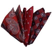 Dmitry Men's Red Italian Silk Pocket Squares (Pack of 3)