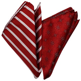 Dmitry Men's Red Silk Italian Pocket Squares (Set of 2)
