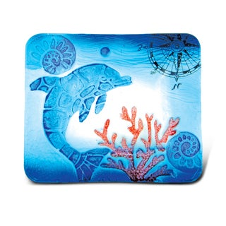 Glass Dcor - 7 Inch Blue Rectangle Plate - Dolphin
