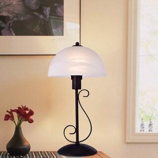 Zan White Glass 19-inch Antique Bronze Table Lamp