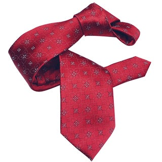 Dmitry Men's Red Silk Italian Patterned Tie