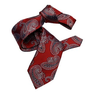 Dmitry Men's Red Paisley Italian Silk Tie
