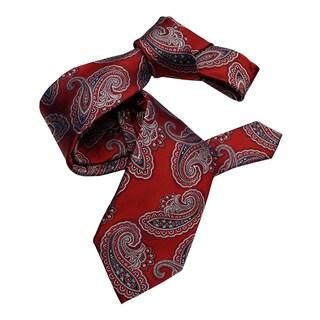 Dmitry Men's Red Paisley Italian Silk Tie