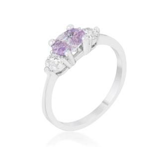 Miranna 1.2-carat Lavender Cubic Zirconia Platinum-plated Classic Oval Ring