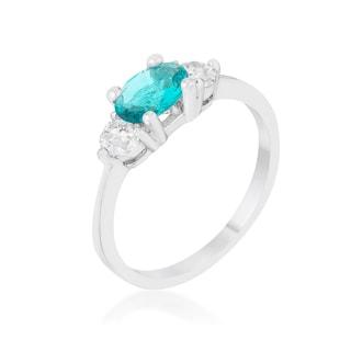 Mariah 1.2-carat Cubic Zirconia Rhodium Aqua Simple Classic Ring