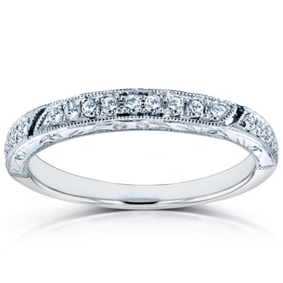 Annello by Kobelli 14k White Gold 1/6ct TDW Diamond Antique Engravings Wedding Band
