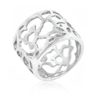 Women's White Platinum Overlay Filigree Matte Rhodium Ring
