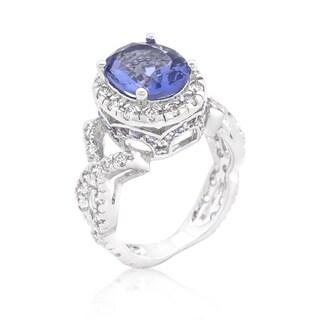 Blue Tanzanite Cubic Zirconia Platinum-overlay Cocktail Ring