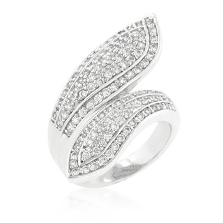 Rhodiumplated Cubic Zirconia Pave Wrap Ring