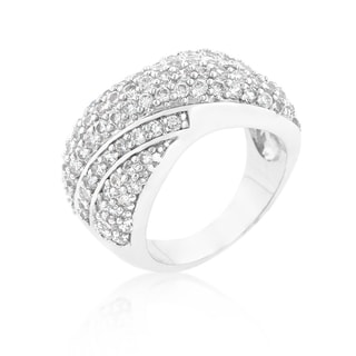 Rhodium-plated Cubic Zirconia Pave Overlap Diagonal Ring