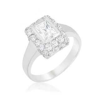 Sterling Silver Pave Engagement Ring
