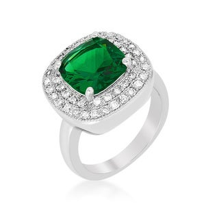 Women's White Platinum Overlay with Green Cubic Zirconia Bridal Cocktail Ring