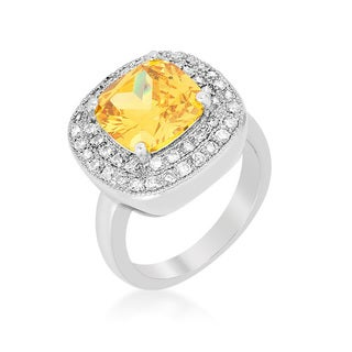 Rhodium Plated Yellow CZ Bridal Cocktail Ring
