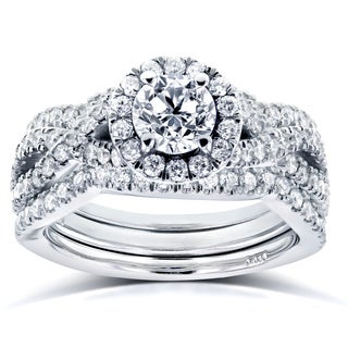 Annello by Kobelli 14k White Gold 1 2/5ct TDW Diamond Crossover Halo 3 Ring Bridal Set (HI, I1-I2)