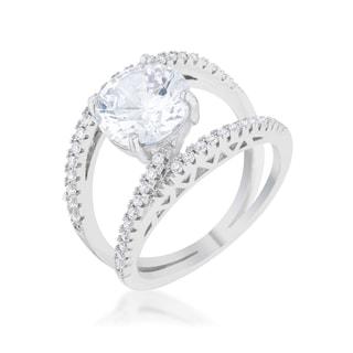 Girana 3-carat Clear Cubic Zirconia Platinum-plated Contemporary Ring