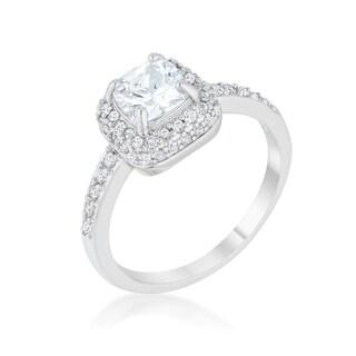 Serena Rhodium 1.5ct Clear CZ Art Deco Ring