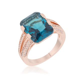 Rema 8.6ct Aqua Cubic Zirconia Rose Gold Emerald Classic Cocktail Ring