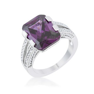 Rema White Platinum-plated Cubic Zirconia/Purple Amethyst Classic Cocktail Ring